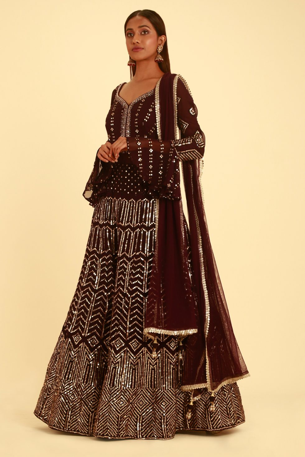 Purple Wine Anarkali Set with Frill Sleeves and Metallic Silver Embellishments