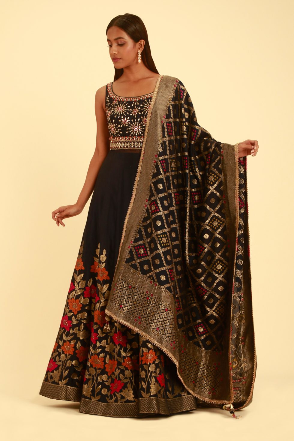 Raven Black Multicoloured Anarkali Gown Set with Banarasi Dupatta and Floral Details