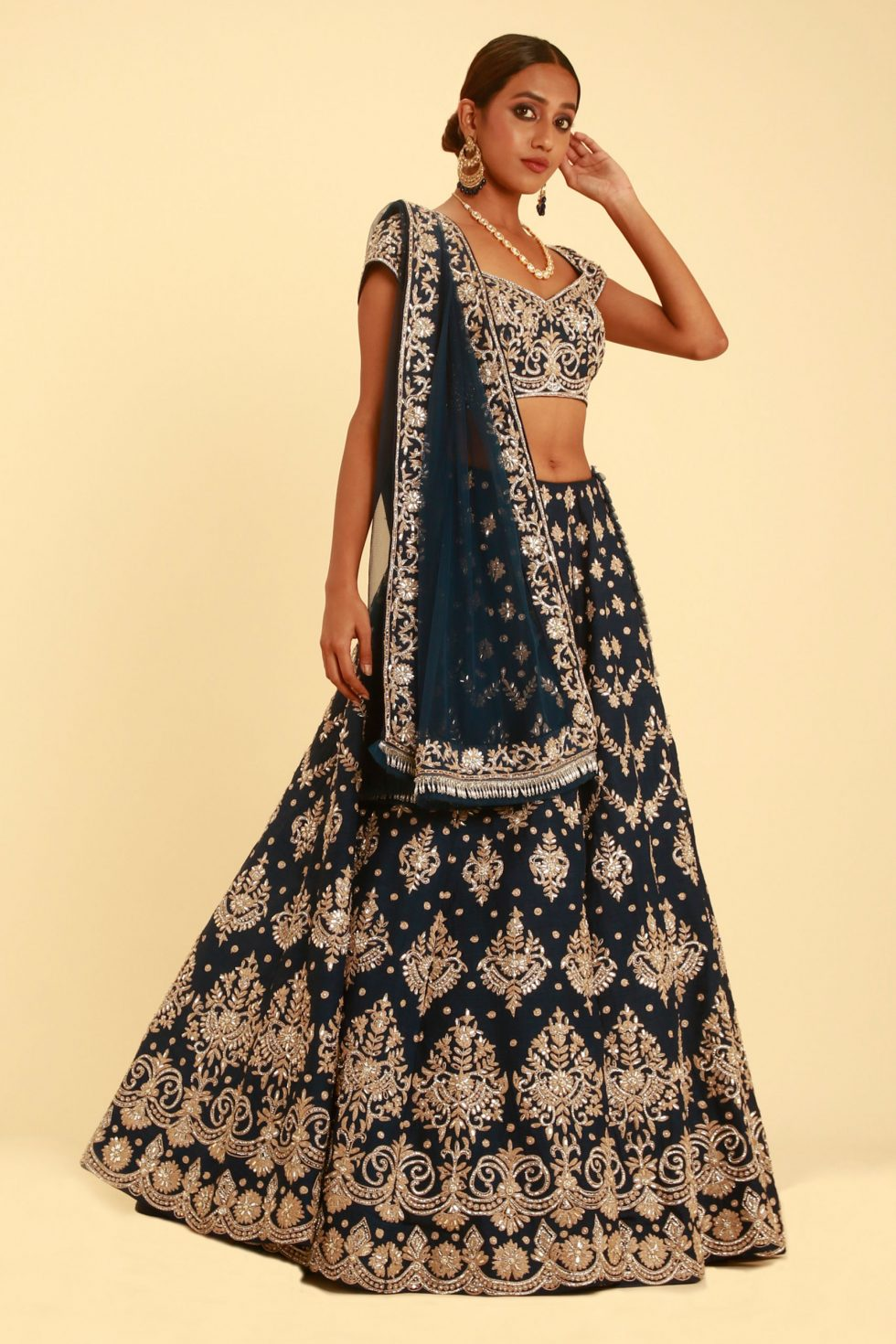 Midnight blue lehenga set with badla dori embroidery and silver embellishments
