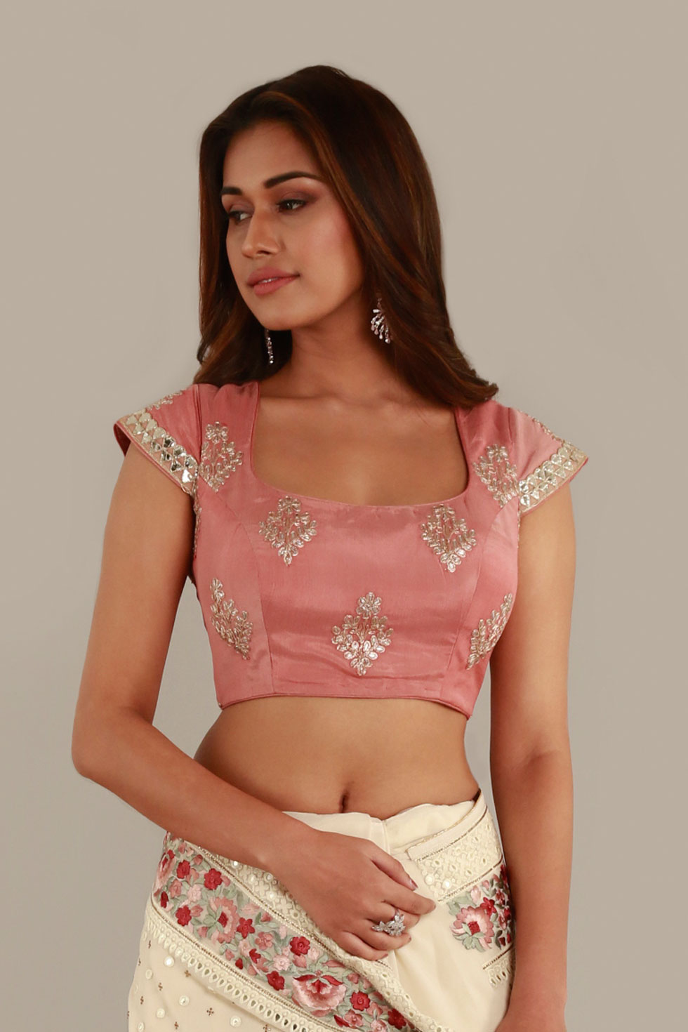 Rose pink classic blouse with silver embroidery and matching border