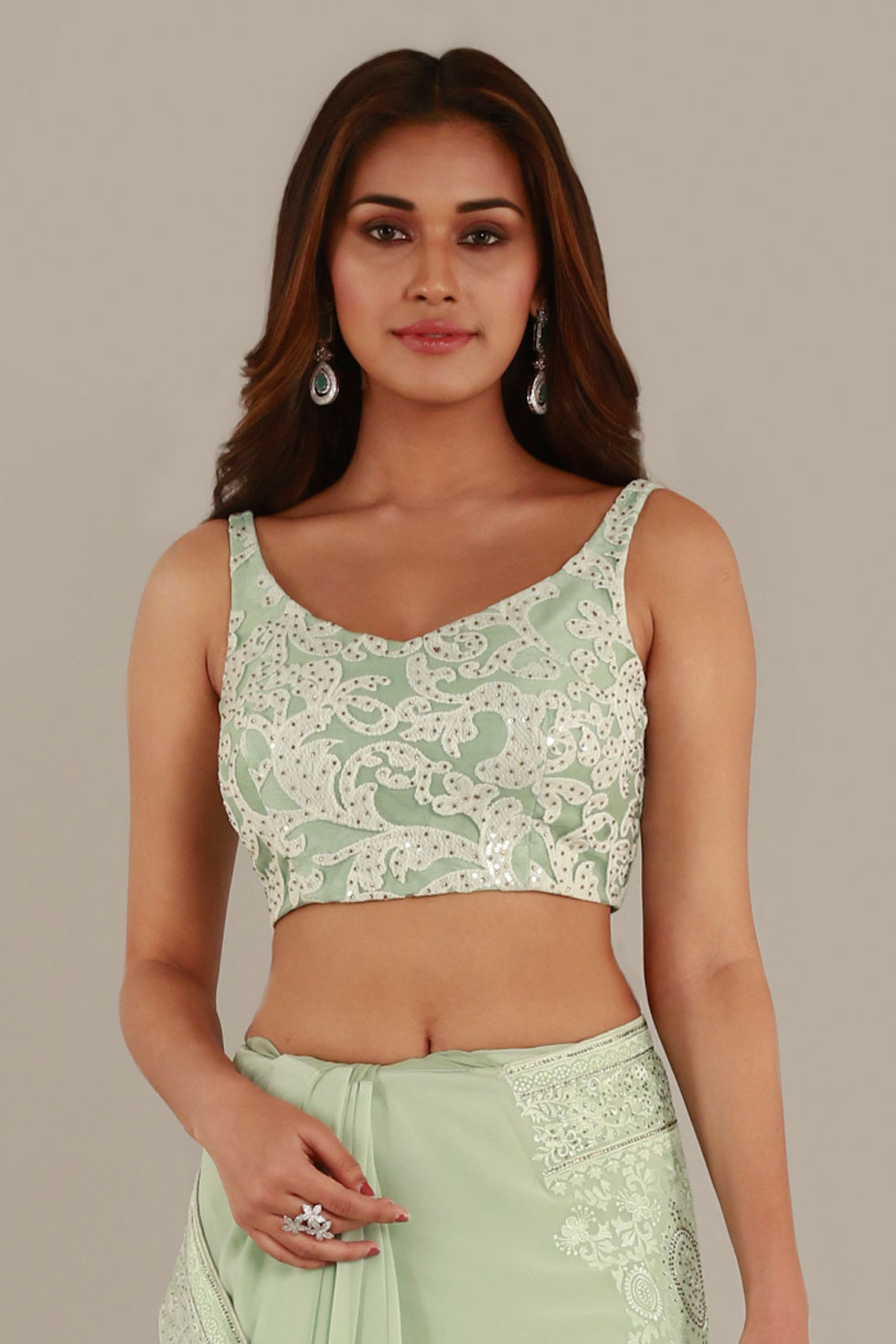 Pear Green Classic Choli with Ivory Thread Work and Stone Embellishments