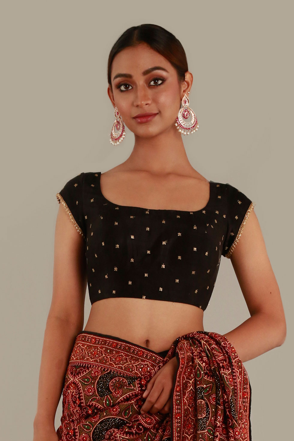 Raven Black Choli with Gold Border and Butis