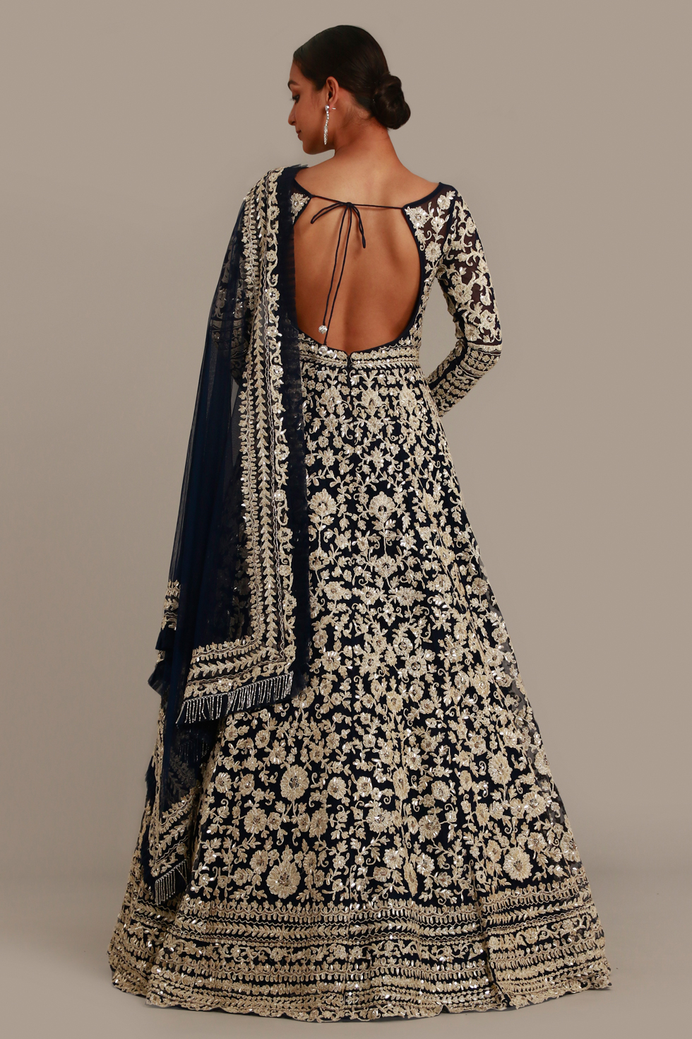 Navy Blue Anarkali gown set with badla zari embroidery and matching dupatta with frill details