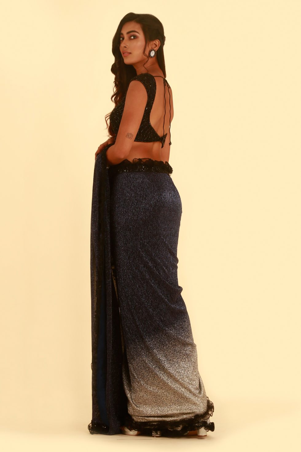 Navy Blue and silver classic saree with frill detail and matching embroidered blouse