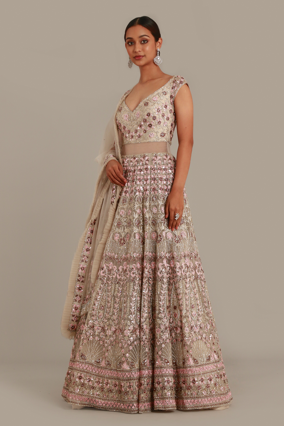 Grey Gold Anarkali Gown Set