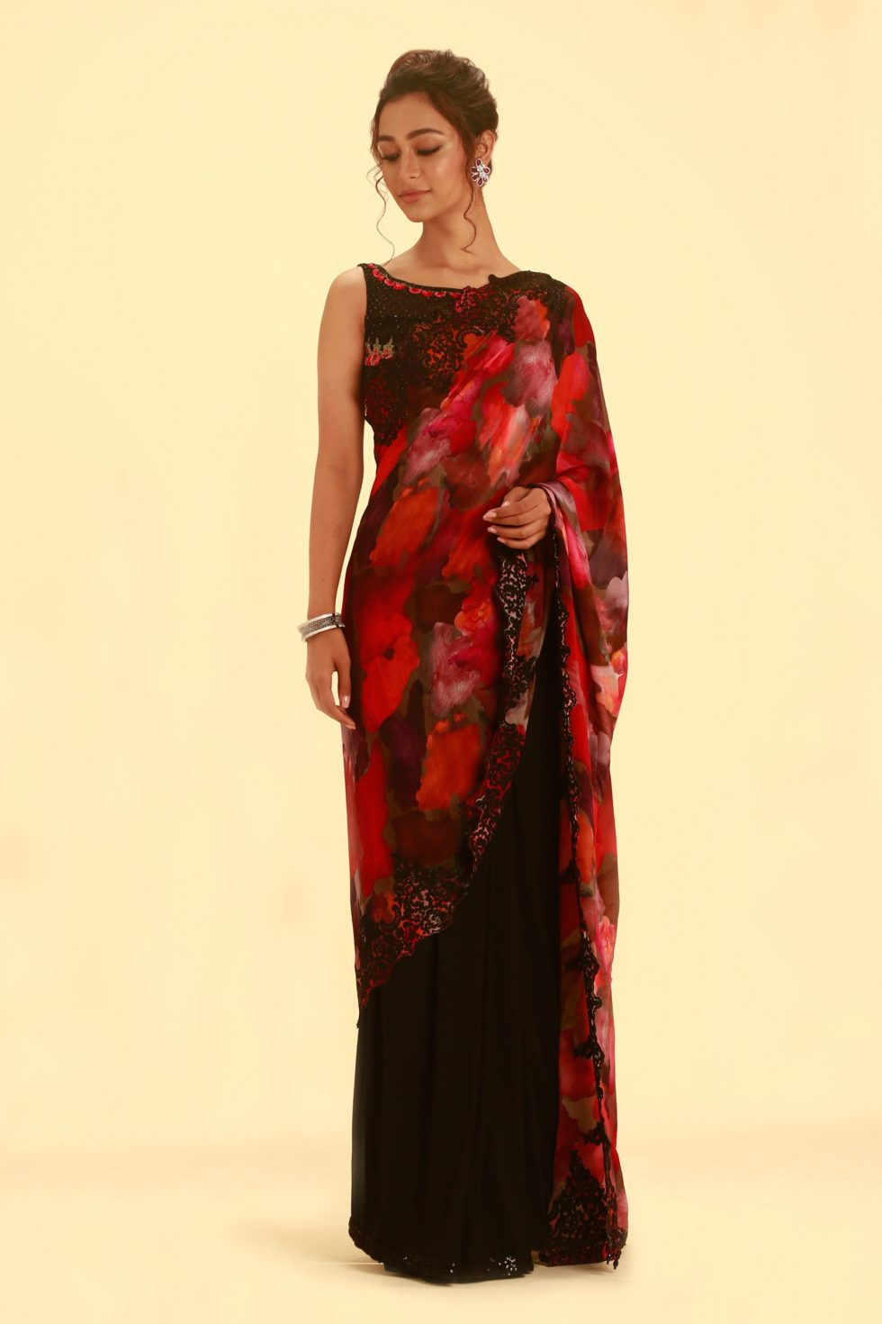 Raven Black Saree with Contrast Printed Blouse Pallu and Matching Blouse with Floral Motifs