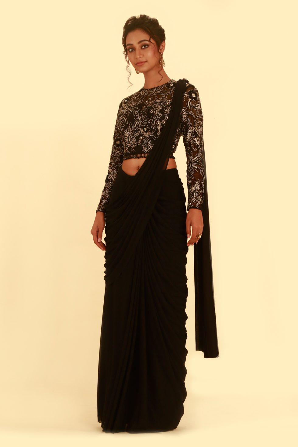 Ink Black Pre Stitched Lehenga Saree and Embroidered Choli with Cut Out Back, Gold Details and Tassels