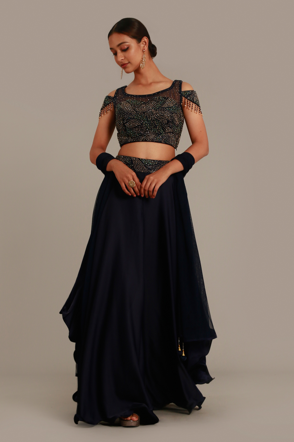 Midnight Blue Draped Palazzo Pant Set with Cold Shoulder Cut Out Crop Top