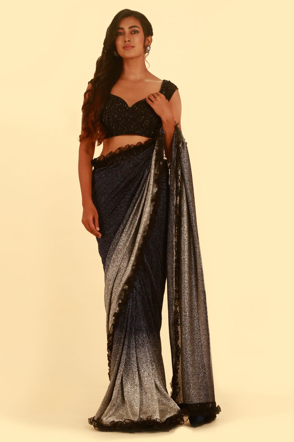 Black and Silver Classic Saree with Frill Detail and Matching Embroidered Blouse