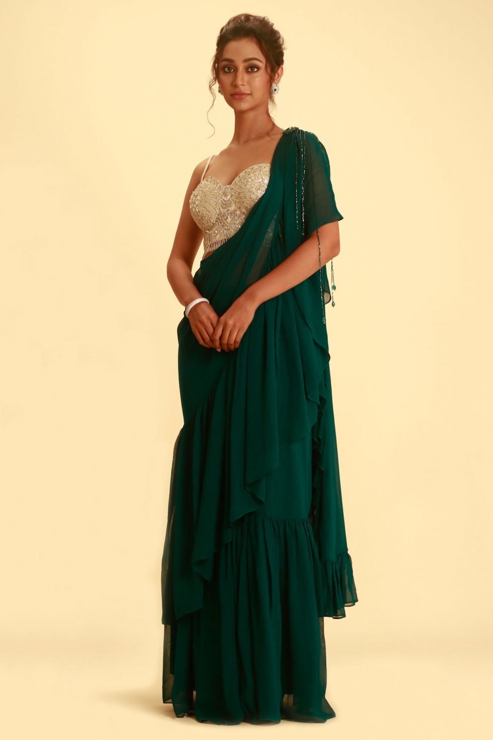 Bottle Green Pre Stitched Ruffle Frill Saree with Contrast Silver Beaded Blouse and Tassel Detail