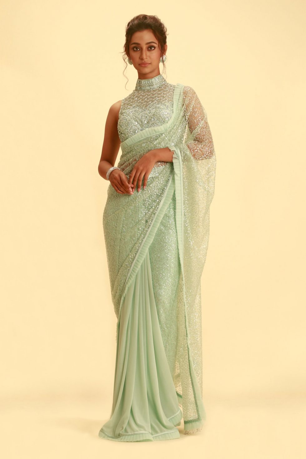 Mint Green Saree with Beaded Pallu and Matching Embroidered Blouse