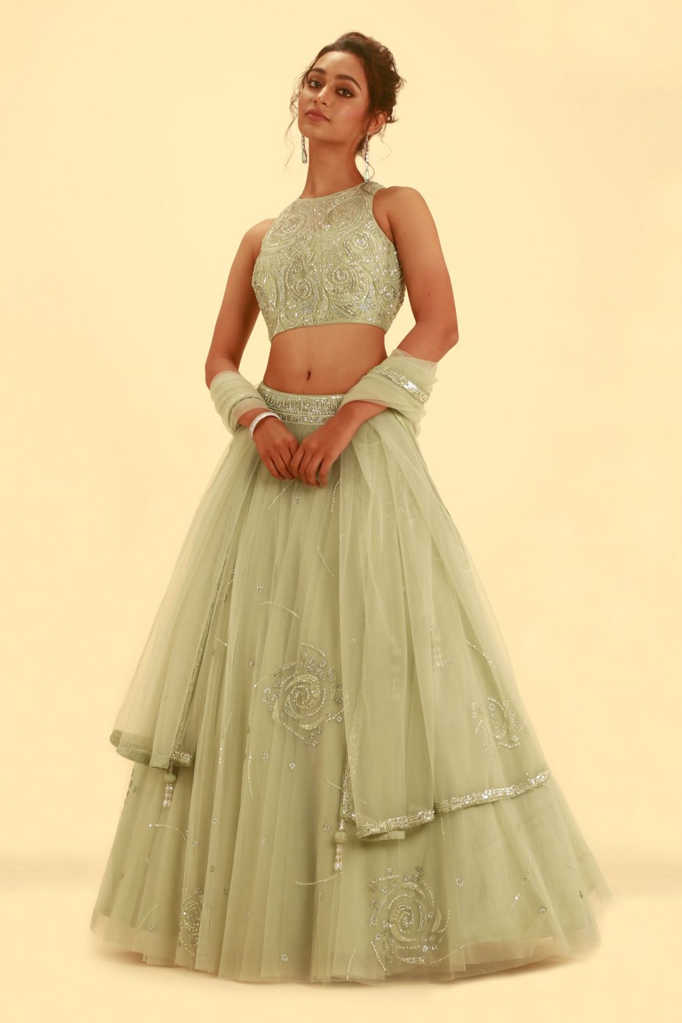 Pista green tulle lehenga set with self hand embroidery and matching dupatta with border