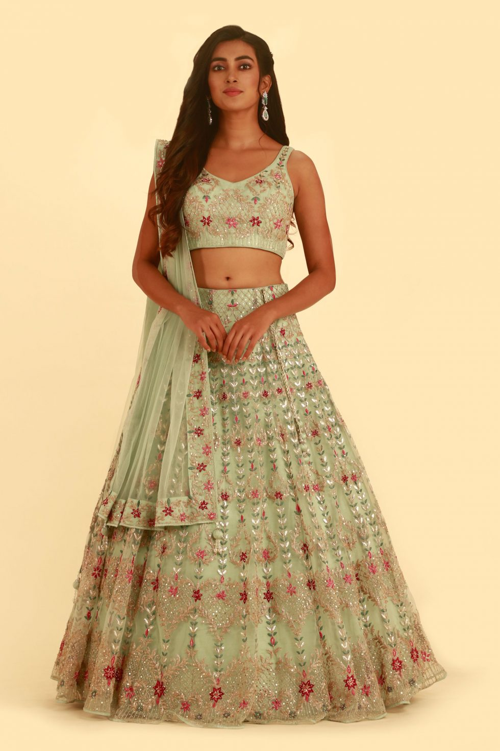 Pastel Green Classic Lehenga Set with Contrast Embroidery and Matching Dupatta