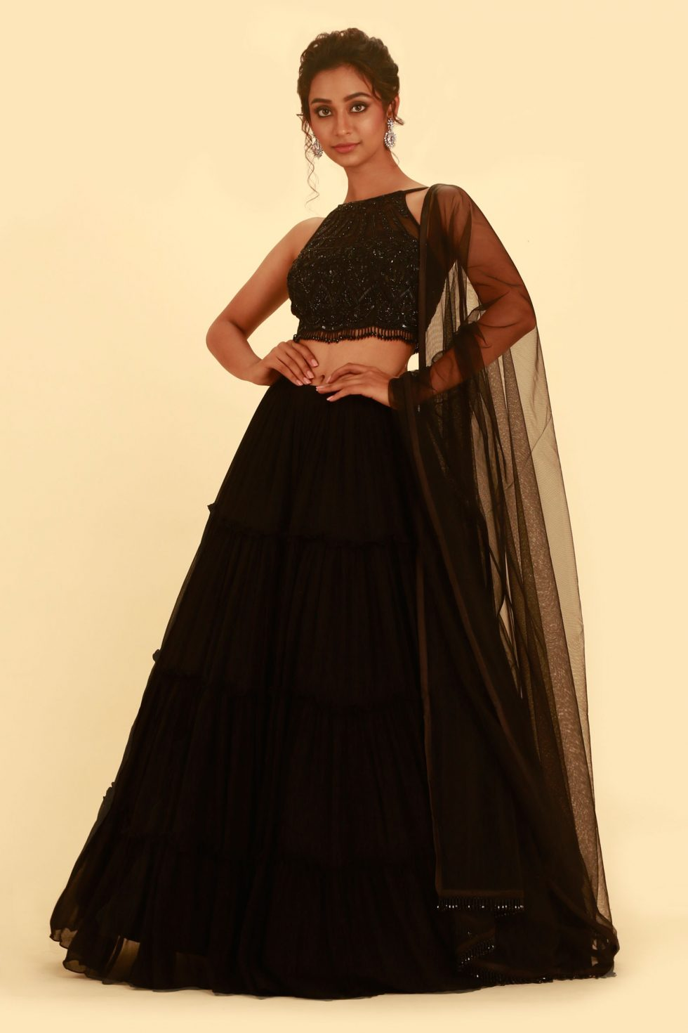 Jet Black Lehenga Set with Tiered Skirt and Zardozi Embroidered Choli with Tassels