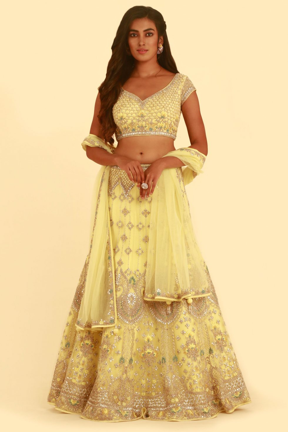 Lime Yellow Lehenga Set with Silver and Contrast Embroidery and Matching Dupatta