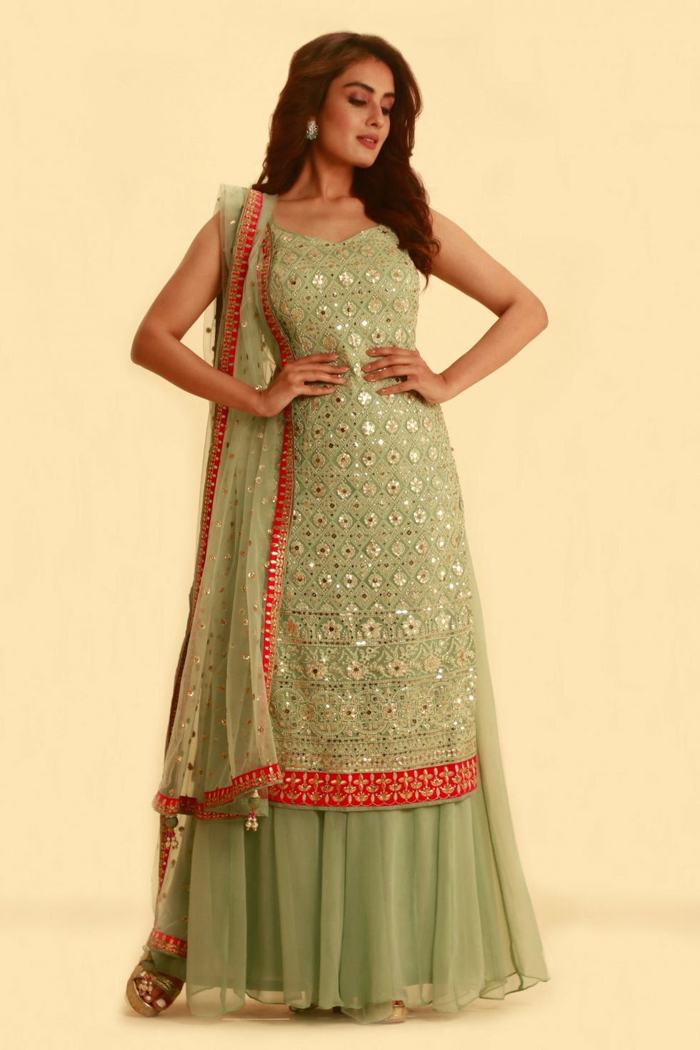 Pista Green Salwar Set with Palazzo Pants and Matching Dupatta with Contrast Border and Butis