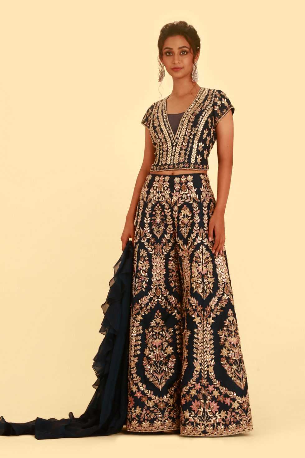 Navy Blue Palazzo Set with Multi Coloured Embroidery, Gota Work and Ruffled Dupatta