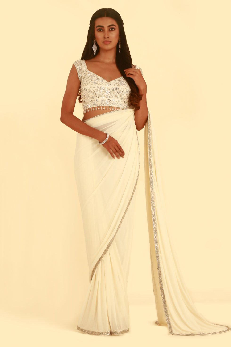 Ivory White Classic Saree with Embroidered Blouse and Silver Border To Match