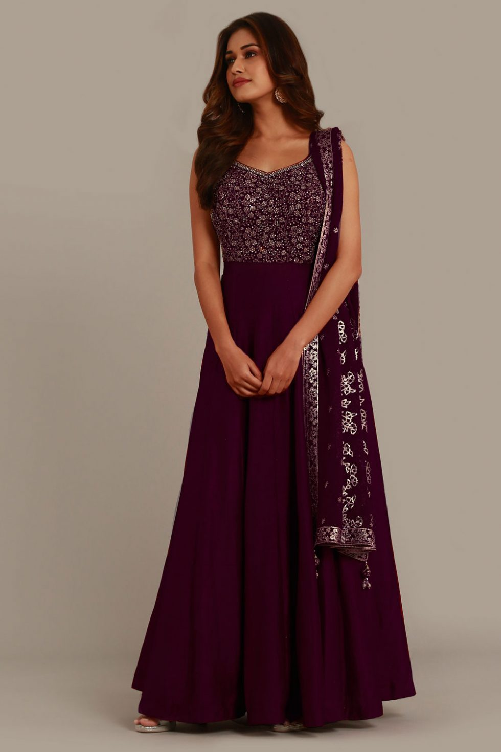 Wine purple Anarkali gown set with matching dupatta and gold embellishments