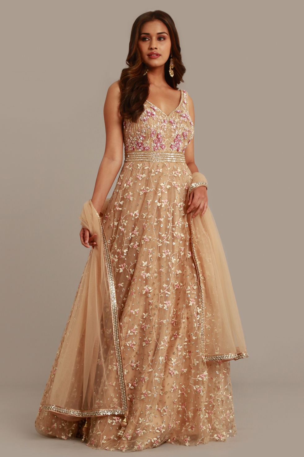 Gold Beige Anarkali Gown Set