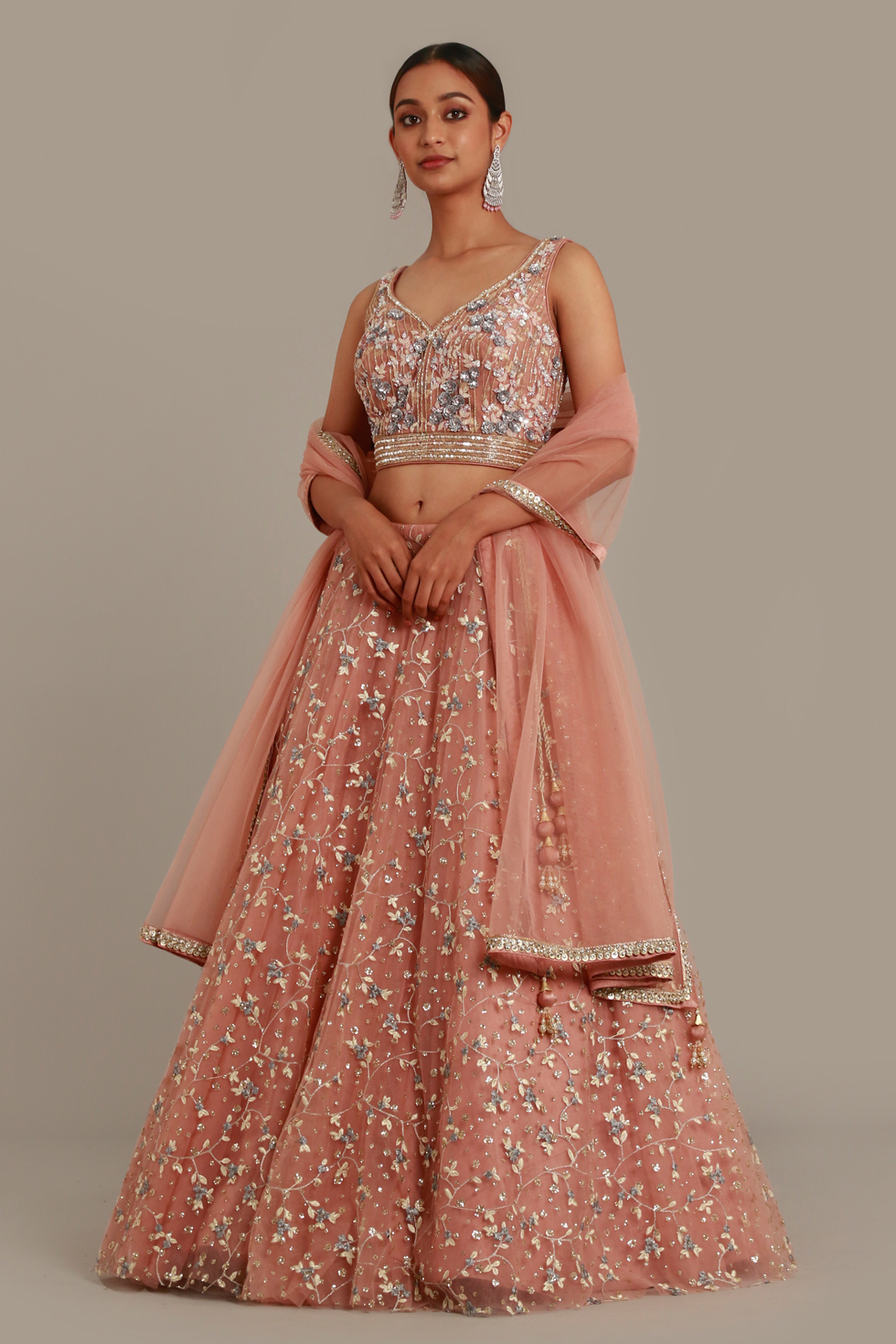 Pale Ice Pink Lehenga Set with Contrast Embroidery, Silver Details and Matching Dupatta