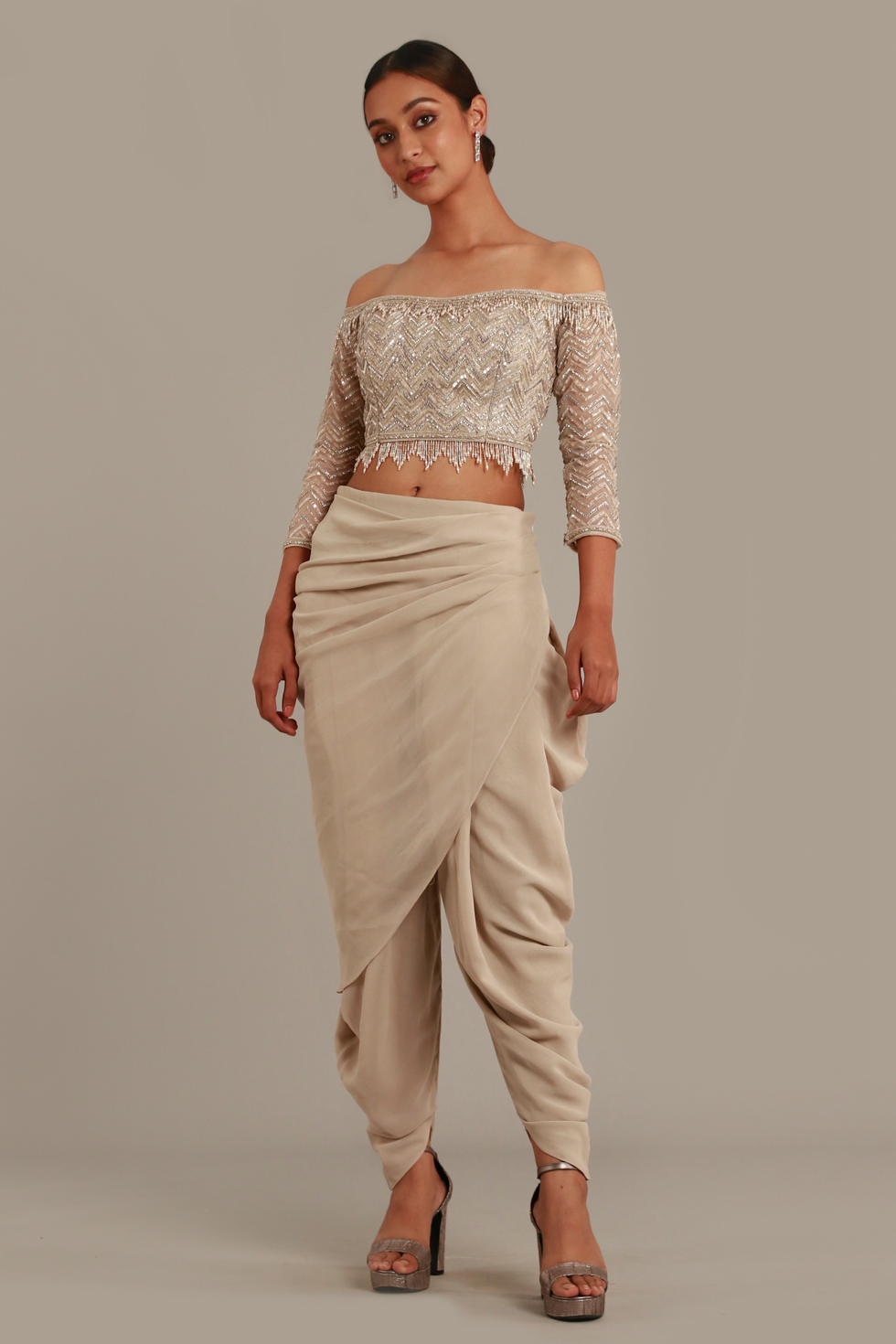 Pastel Grey Draped Dhoti Set with Shoulder Top