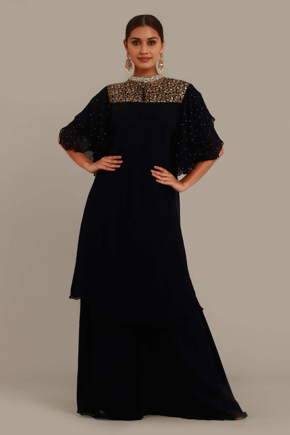 Raven Black Long Top with Palazzo Pants