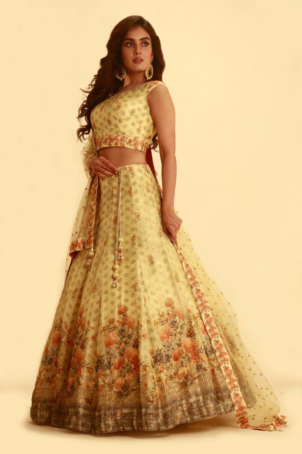 Lime Yellow Printed Lehenga Set with Tikli Dupatta and Matching Border