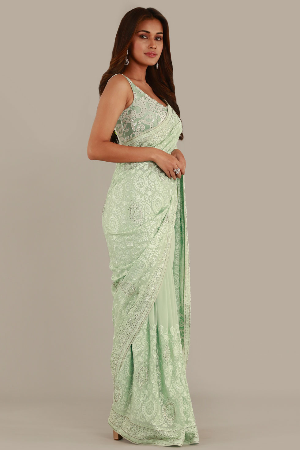 Pear green classic saree with ivory thread work, stone embellishments and matching choli