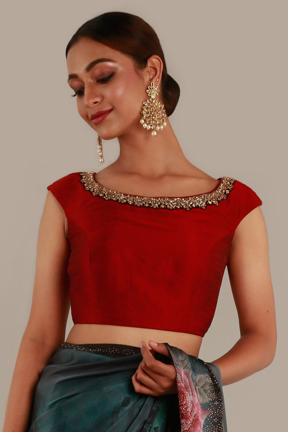 Fiery Red Choli with Keyhole Back and Gold Embroidered Neckline