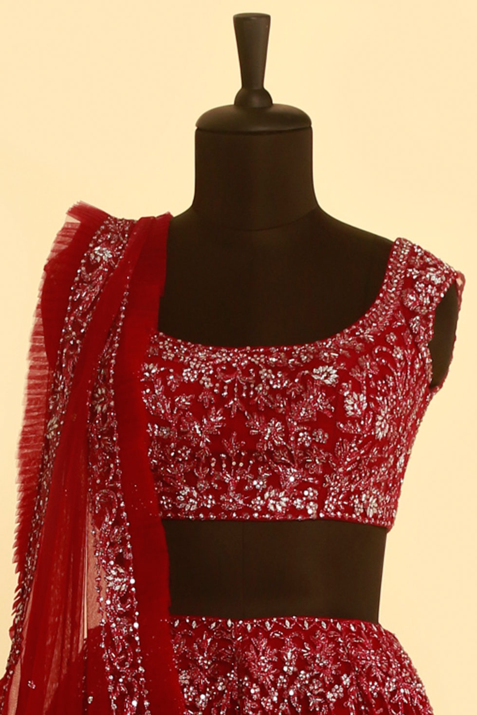 Red lehenga set with silver embellishment and matching frill dupatta