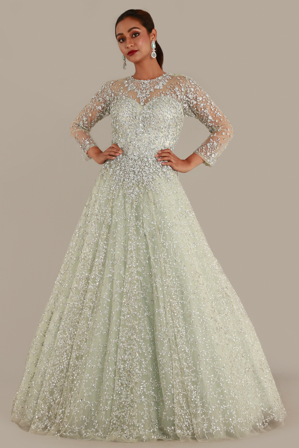 Pastel Green Tulle Gown with Illusion Sleeves