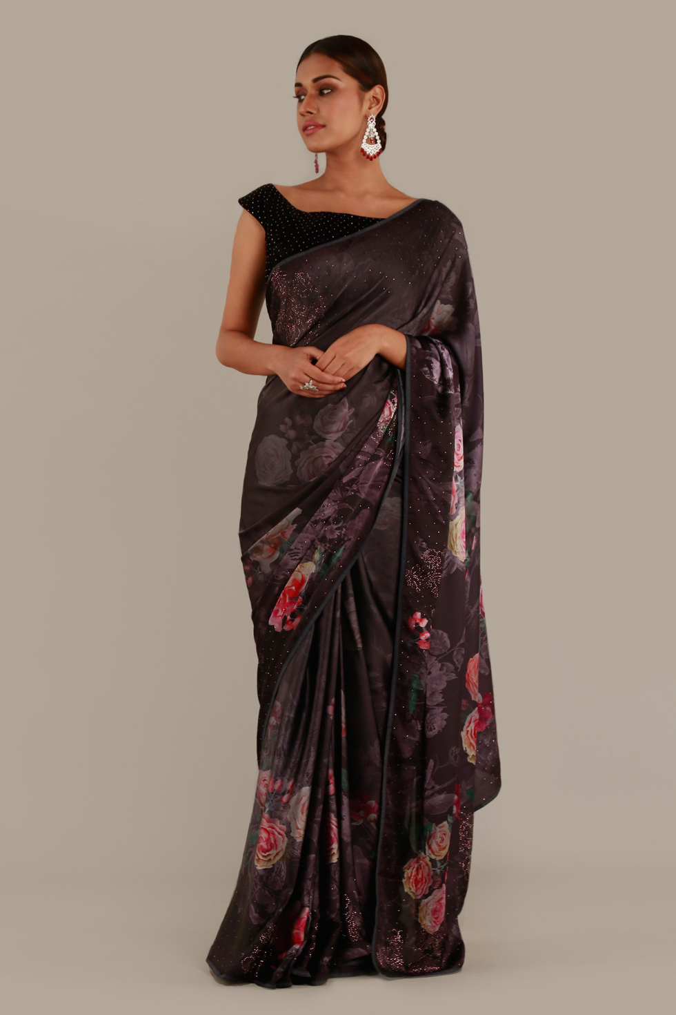 Wine burgundy classic saree with floral print and black choli with cut out back
