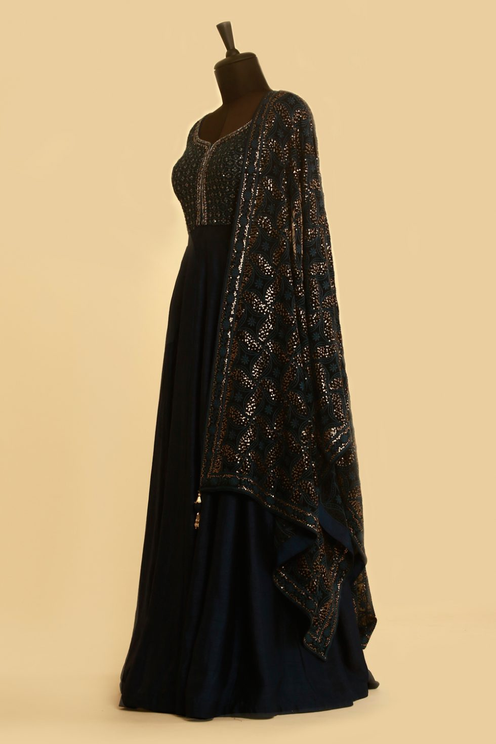 Blue anarkali gown set with sequin dupatta and gota embroidery