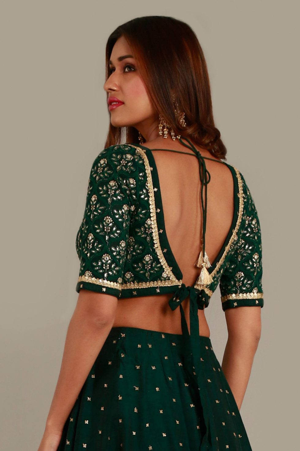 Forest green blouse with gota embellishments and tie up back