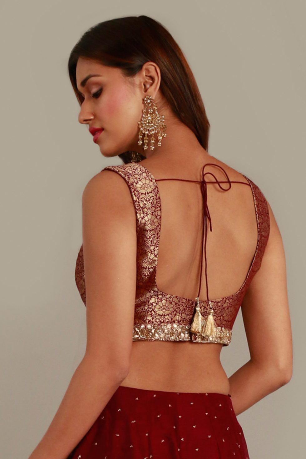 Deep red maroon blouse with gold embroidered neckline