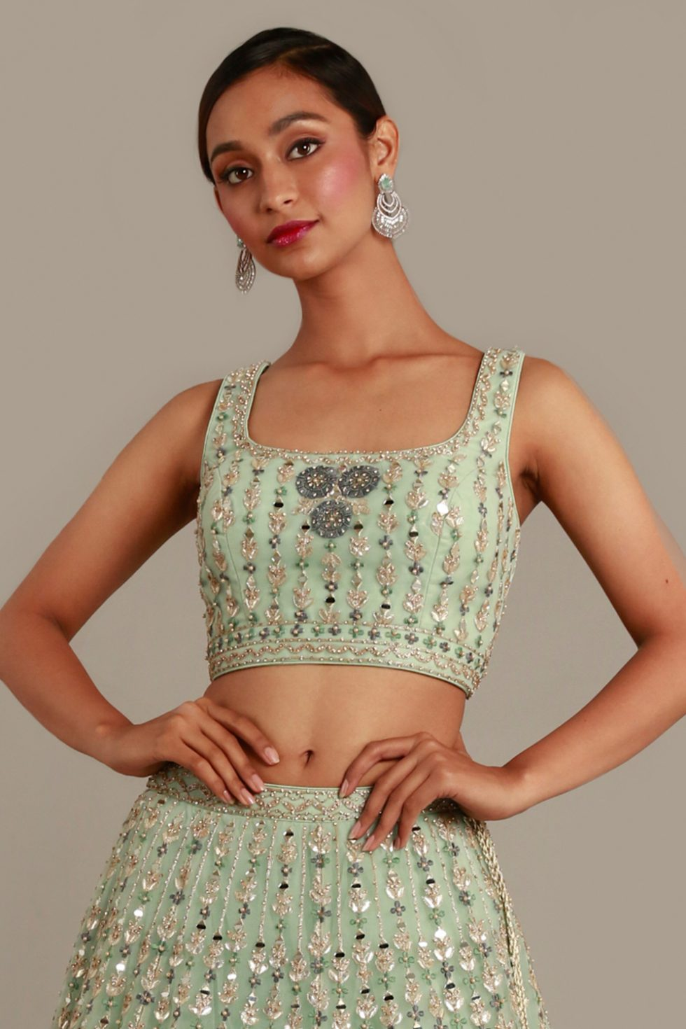 """Pastel green classic blouse with contrast embroidery, """"abla"""" work and silver highlights"""