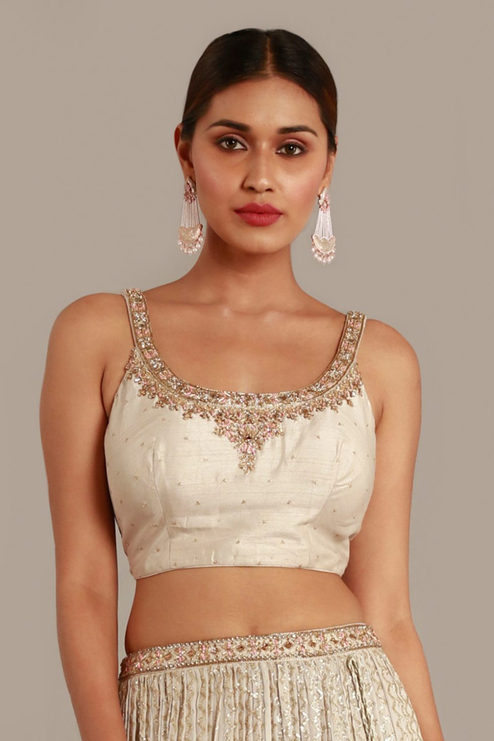 Pastel grey blouse with gold embroidered neckline and butis