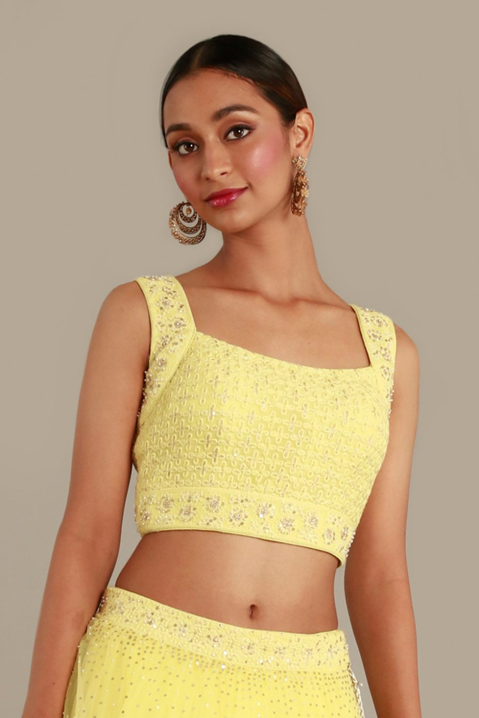 Sunshine yellow blouse with thread work and gold and silver embellishments