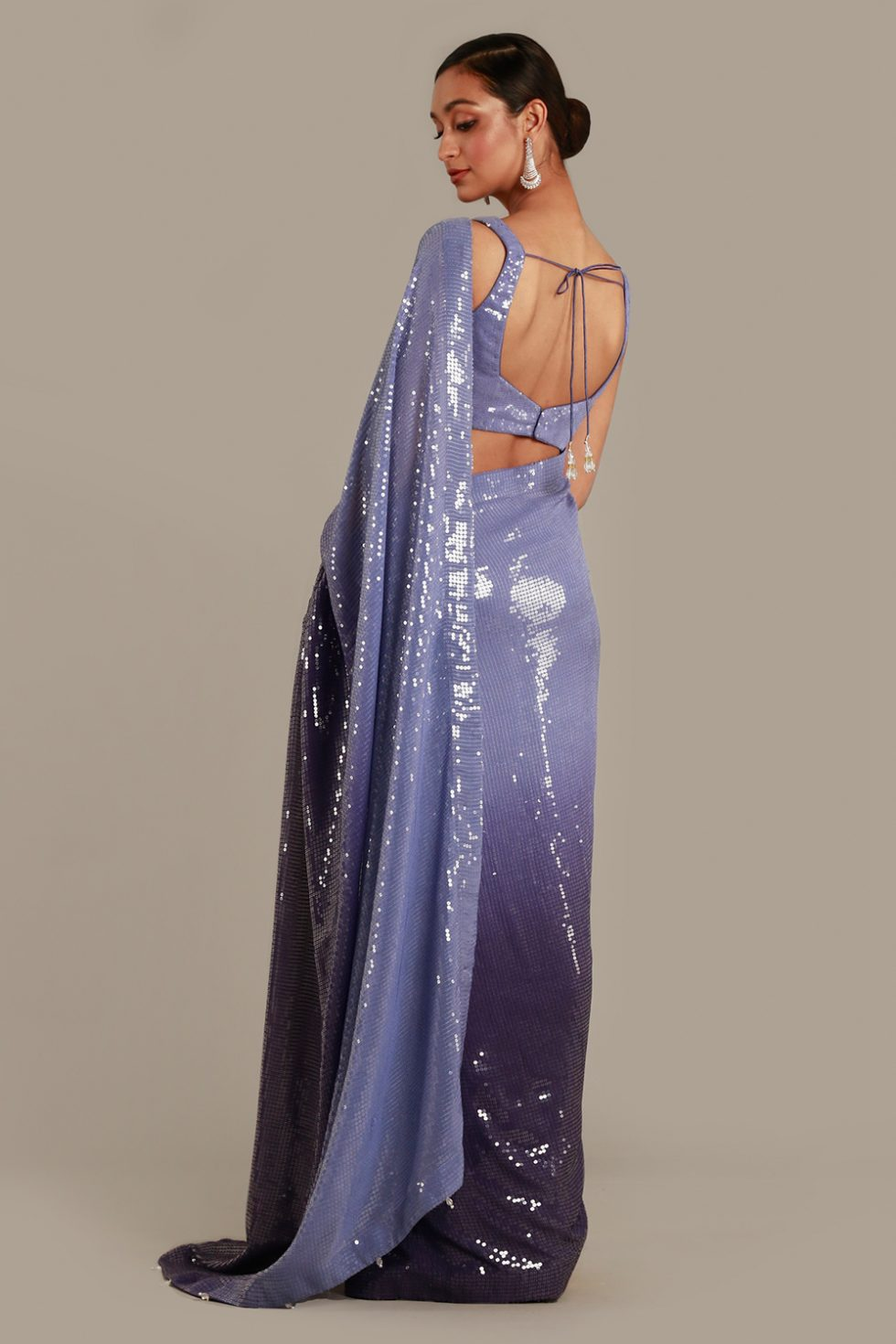 Ombré pastel purple to dark purple shimmery classic saree with matching blouse