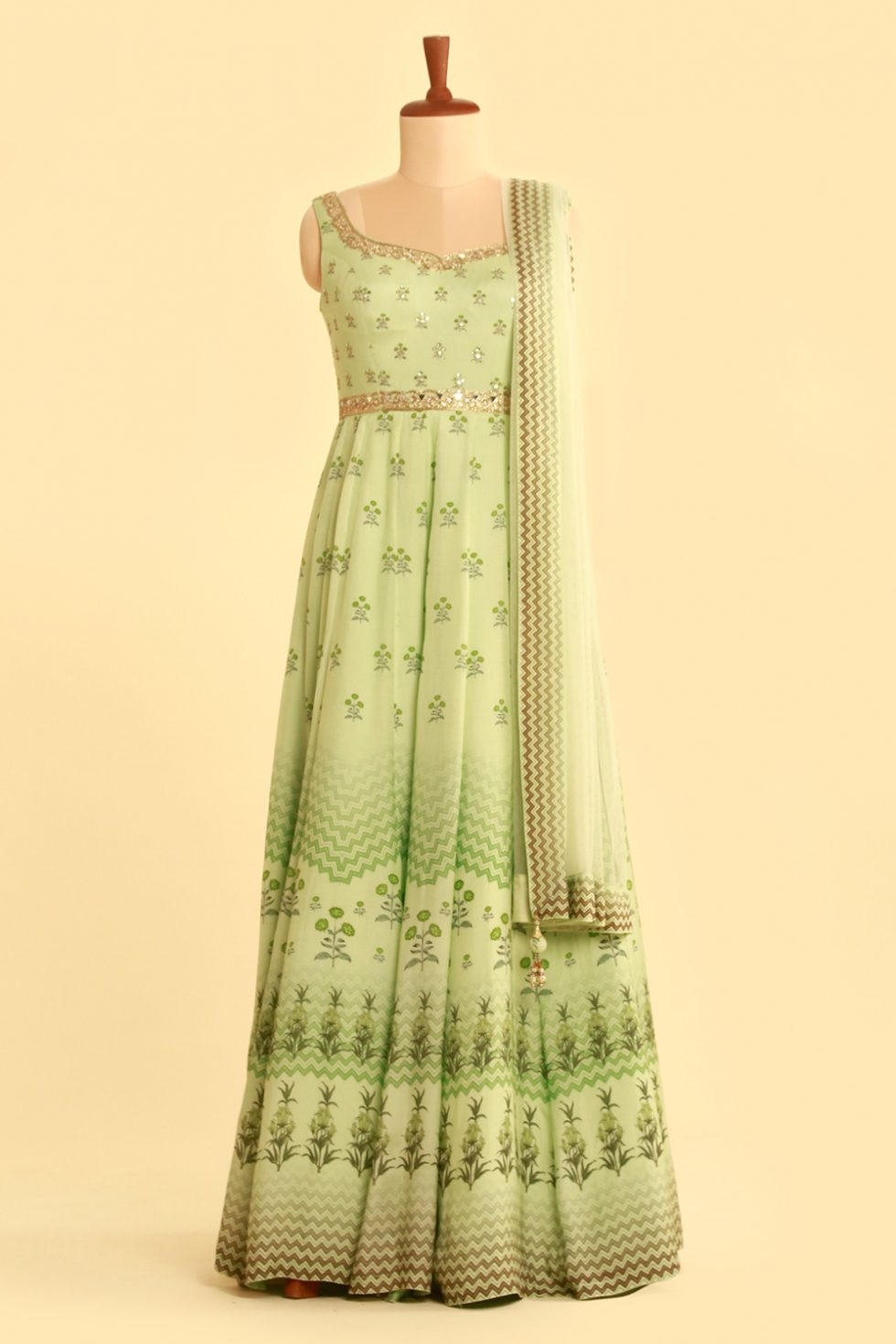 Light green printed Anarkali gown set with matching dupatta and gold embellishments
