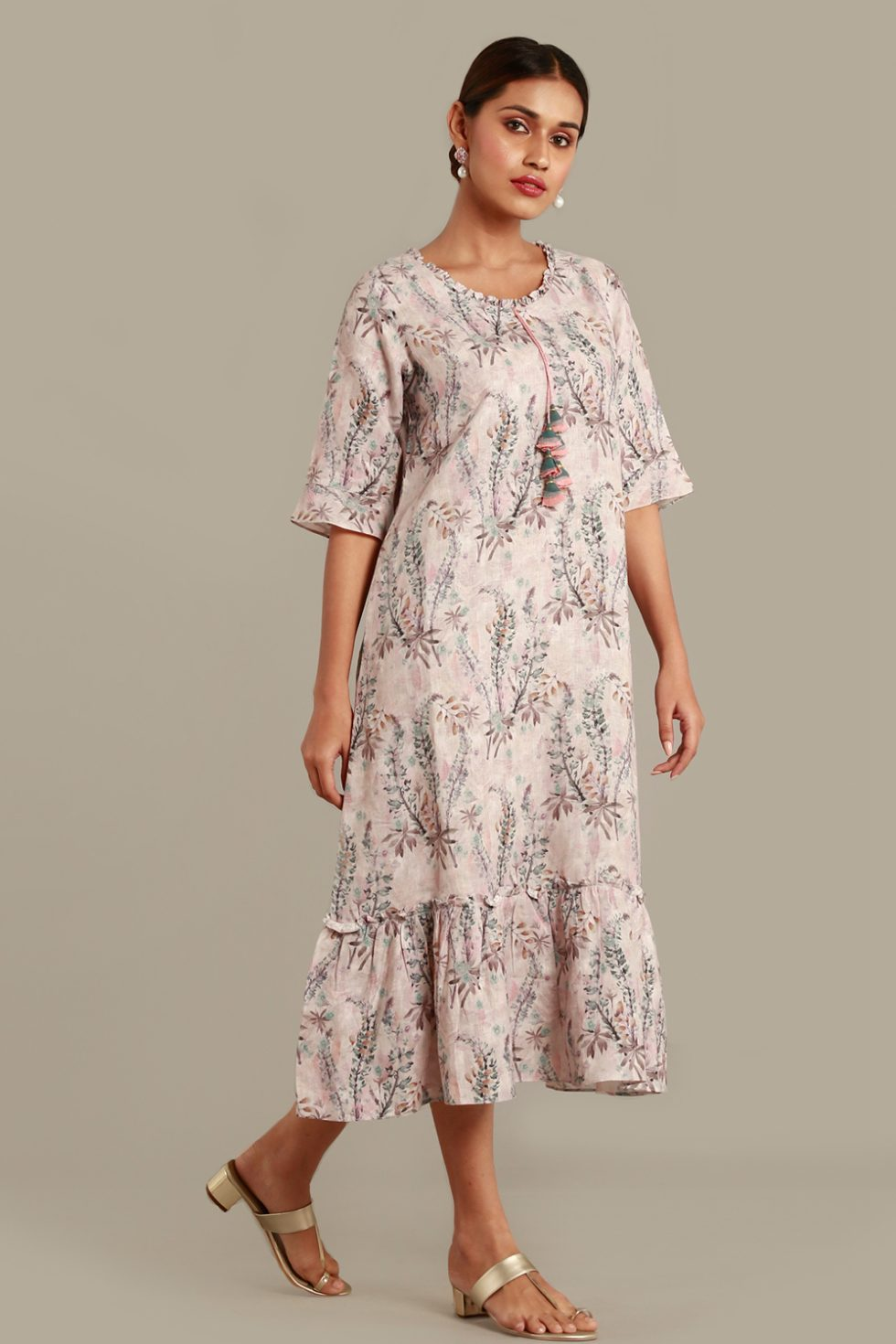 Mauve pink tunic kurti with contrast floral print and tassels