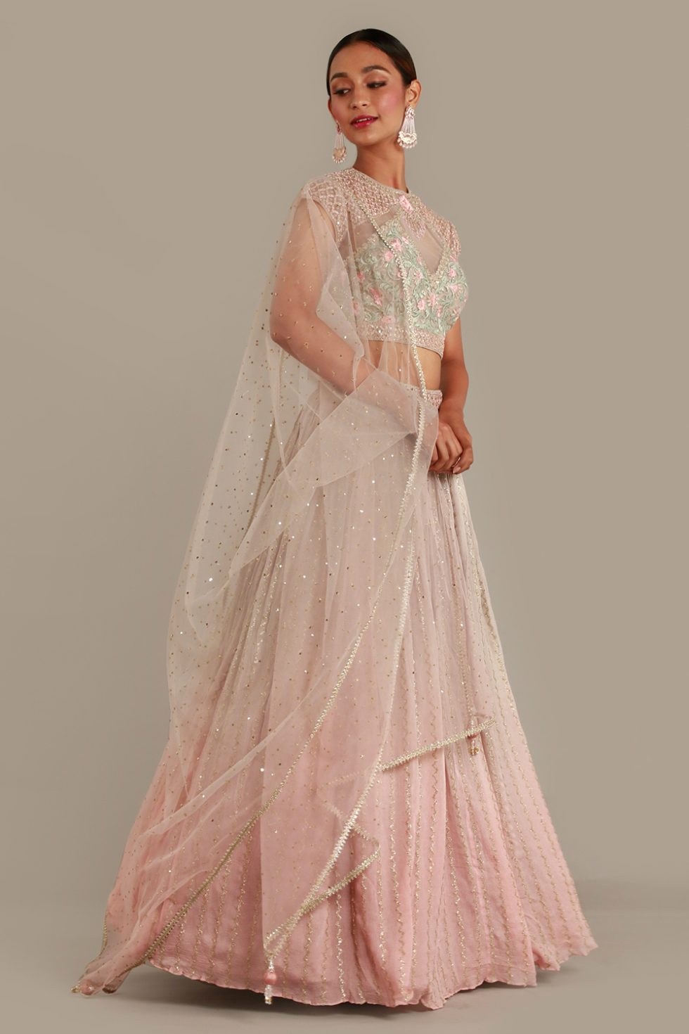 Steel grey to pink ombré lehenga set with coloured embroidered choli, matching dupatta and gold embellishments