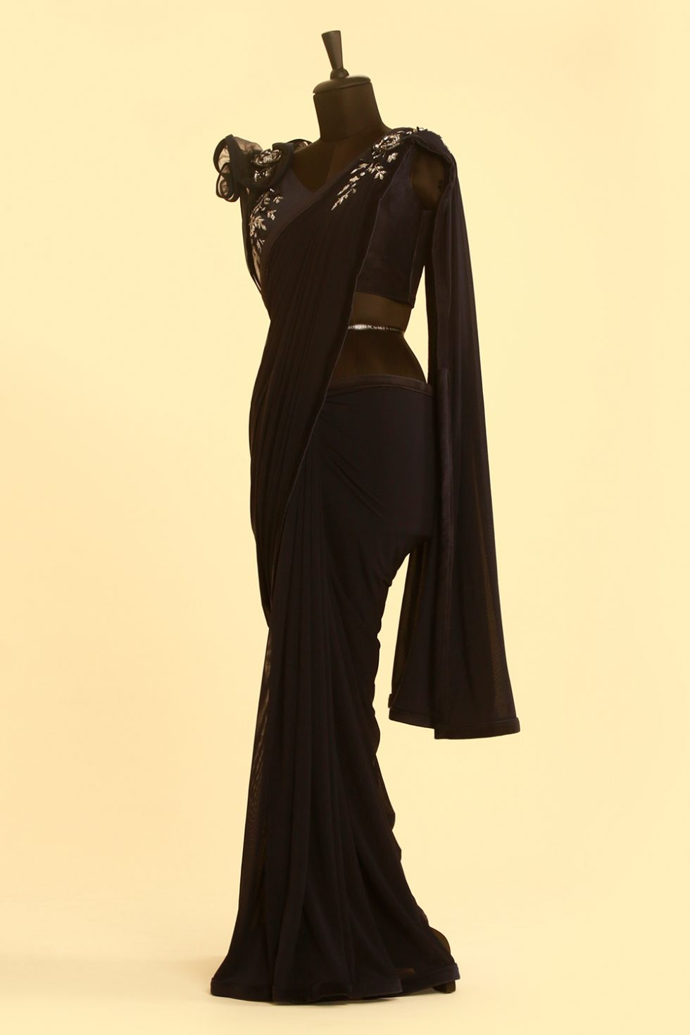 Navy blue saree with matching blouse with silver embroidery and 3-D shoulder detail