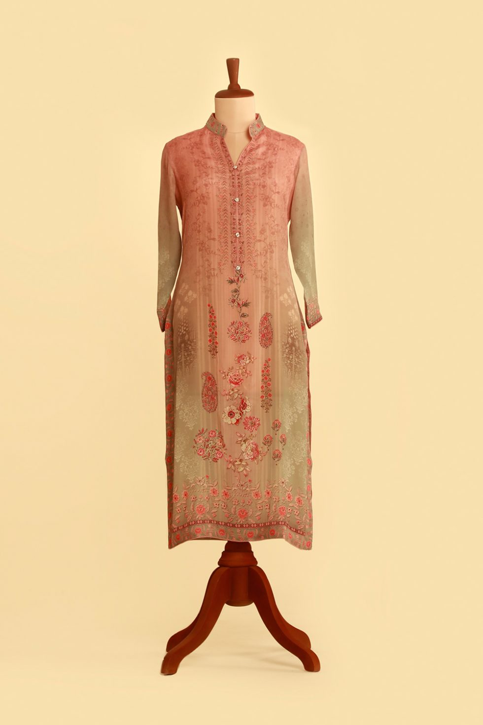 Ombré pink printed kurti with floral motifs and gold highlights