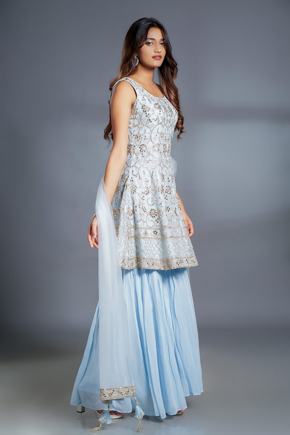 Powder blue palazzo pant set with 'abla' embroidered kurta top and matching dupatta with gold details.