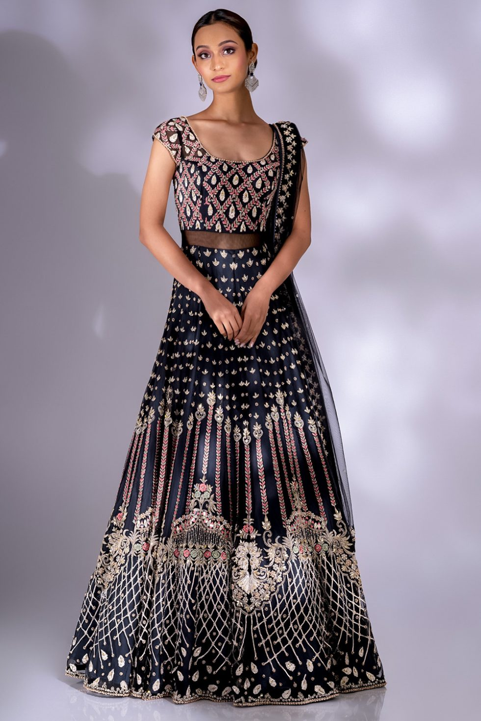 Charcoal black gown set with multicoloured embroidery, pearl, lace and silver embellishments paired with a matching dupatta.