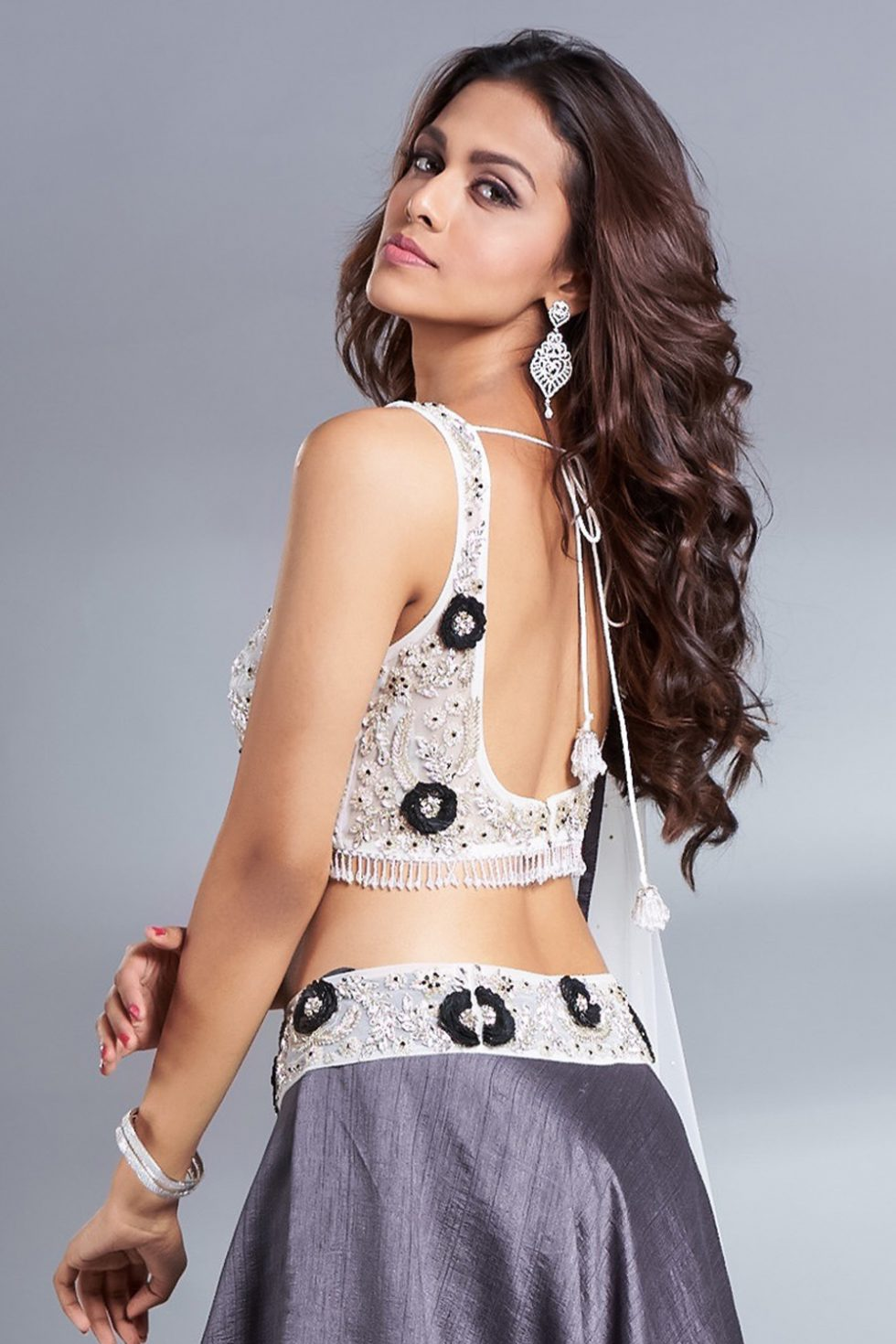 Ash grey handwork classic blouse with contrast 3D flowers, silver embellishments and tassels